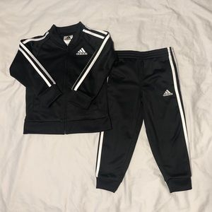 Boys Adidas Jogger Suit Black White Stripes 3T